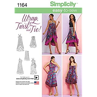 Simplicity 1164 Women's Double Layer Wrap Dress and Skirt Sewing Pattern, Sizes XS-XL