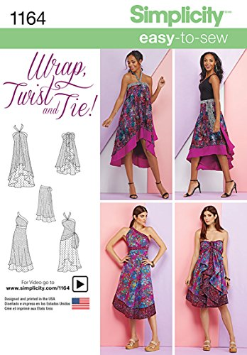 Simplicity 1164 Women's Double Layer Wrap Dress and Skirt Sewing Pattern, Sizes XS-XL ()