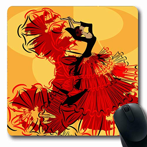 Ahawoso Mousepads for Computers Dance Red Flamenco Abstract Yellow Spanish Dancer Redblack Dress Vintage Big Black Body Design Move Oblong Shape 7.9 x 9.5 Inches Non-Slip Oblong Gaming Mouse Pad