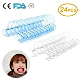 "Dental Intraoral Cheek Lip Retractor Mouth Opener for Fun Speaking Game ""Watch Ya Mouth"" & ""Speak Out Game"", C-SHAPE Adult Teeth Whitening Intraoral Cheek Retractors, 24 Pack (12 Medium+12 Small )"