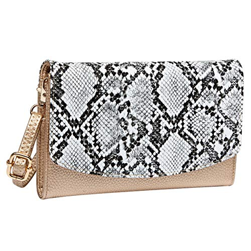 Women's Clutches Purse with Wrist Strap Handbags Snake Print Wallet, Grey + Gold