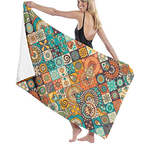 CMJIUSF Cotton Beach Towel Luxury Microfiber Absorbent Bath Towels Quick-Drying Towel -Vintage Marble Mexican Ceramic Tile Medallion