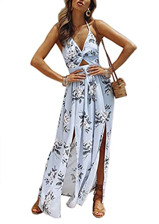 bda7299b64 Women's Summer Beach Sundress Spaghetti Boho V Halter Split Floral Long  Maxi Dress Light Blue