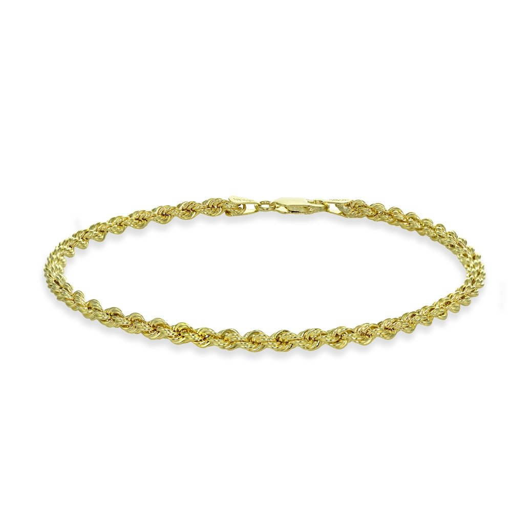 14K Yellow Gold 3mm Hollow Twist Rope Chain Bracelet for Men and Women, 8 Inch