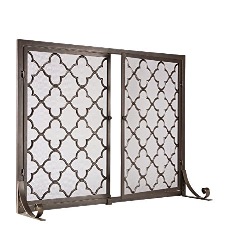 Small Geometric Screen with Doors, 38''W x 31''H, in Bronze by Plow & Hearth (Image #1)