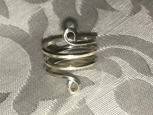 Handmade Sterling Silver Snake Style Spiral Toe Ring or Knuckle Ring, Goddess Ring, Priestess Ring, Clockwise ()
