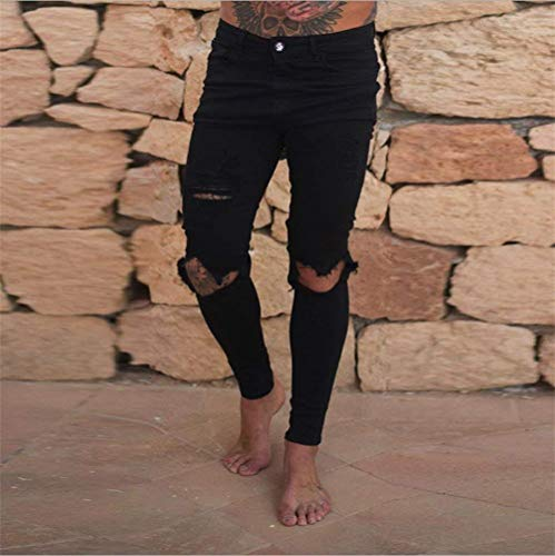 In Slim Fit Semplice Stile Hor Skinny Stretch Pantaloni Denim Ufige Nuovo Jeans Nero Super Ripped Mens Distressed BOvSqPg