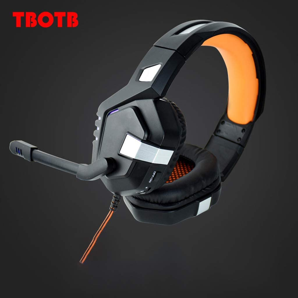 FunDiscount 7.1 Channel Virtual USB Surround Sound Gaming Headset Wired Over Ear Headphones with Mic Volume Control Noise Cancelling LED Light Earphones Compatible with PC Xbox One Orange PS4