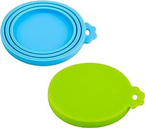 SAVITA 2 Pieces Pet Food Can Lids Dishwasher Safe Universal Dog Food Can Lid Food Grade Silicone Cat Food Lid (Green, Light Blue)