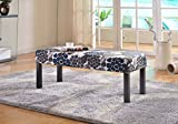 Container Furniture Direct Alma Collection Contemporary Upholstered Floral Print Fabric Decorative Accent Bench, Blue