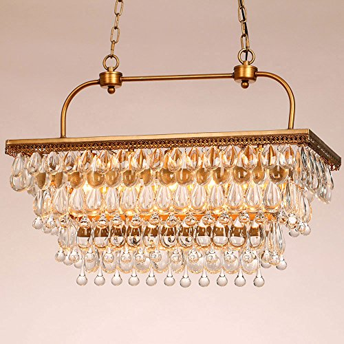Lovedima-Vincy-Retro-Clear-Glass-Teardrop-5-Light-Rectangular-Pendant-Light-in-Antique-Brass
