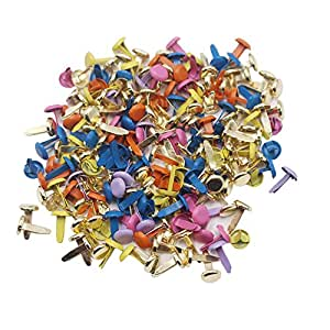 LAOZHOU 200 Pack Mixed Bright Color Metal Brad Paper Fastener for DIY Paper Craft Stamping Scrapbooking (200pack)