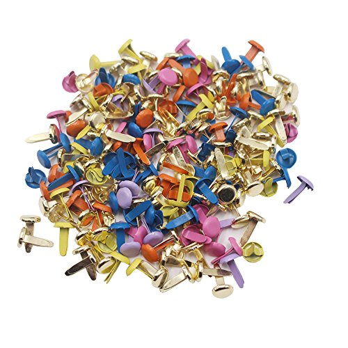 LAOZHOU 200 Pack Mixed Bright Color Metal Brad Paper Fastener for DIY Paper Craft Stamping Scrapbooking (Thor Force 2 Helmet)