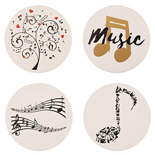 IPHOX Drink Coasters - Absorbent Stone Coasters Set with Cork Base, Avoid Scratching Furniture, Suitable for Kinds of Mugs and Cups, Music Style Home Decor, 4 Pack (Music-White)