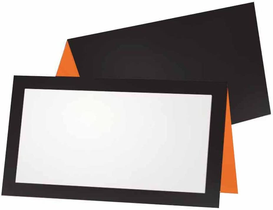 Black and Orange Place Cards - Tent Style - 10 Pack - Stationery Pary Supplies - Table Name Seating Placement - Gift Tag Food Label - Any Occasion