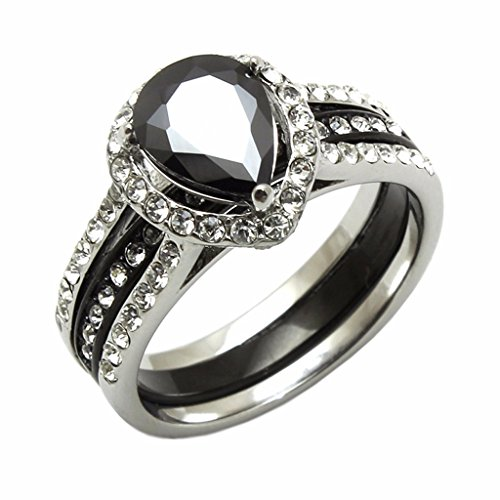 Lanyjewelry Womens Black Pear CZ Two Tone Black Stainless Steel 2 Rings Set-Size 8