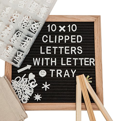 Black Felt Letter Board Set 10X10- 346 CLIPPED White Plastic Changeable Letters, Numbers and Symbols- Oak Wooden Frame, Wall Mount, Easel- Bonus Letters Organizer Tray+Letter Pouch|By Papervera