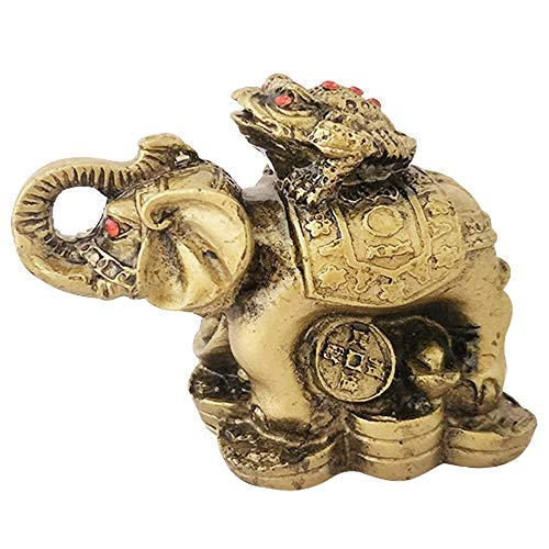- Divya Mantra Feng Shui King Money Toad Three Frog on Trunk up Elephant for Prosperity Financial Business Strength Success Good Luck