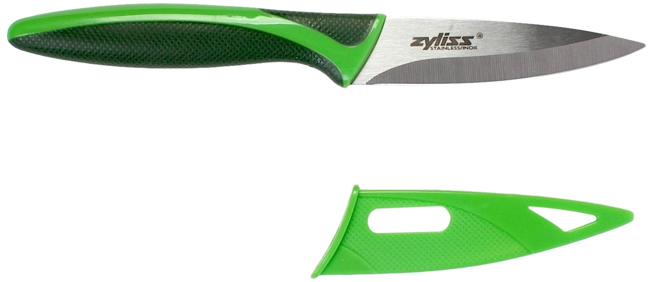ZYLISS Paring Knife with Sheath Cover, 3.5-Inch Stainless Steel Blade, Green by Zyliss