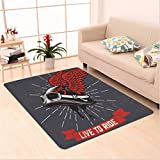 Nalahome Custom carpet Live to Ride Quote and Helmet with Wings Motorcycle Lover Grunge Illustration Charcoal Grey Red area rugs for Living Dining Room Bedroom Hallway Office Carpet (36''x118'')
