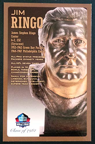 PRO FOOTBALL HALL OF FAME Jim Ringo NFL Bronze Bust Set Card Postcard (Limited Edition #94 of 150)
