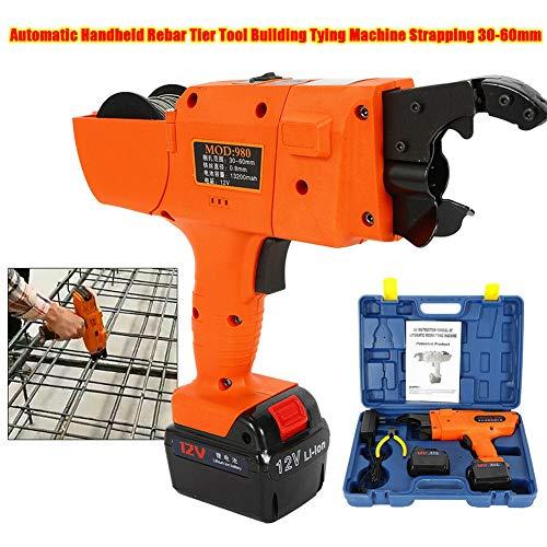Tying Machine, TBVECHI 30-60mm Automatic Handheld Rebar Tier Tool Building Tying Machine Strapping Kit Orange (Cordless Banding Tool)