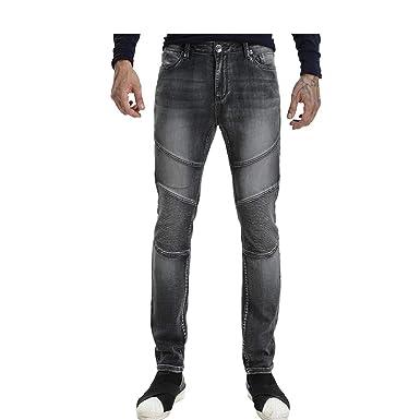 62879ba1 Wardweegion Men's Grey Moto Biker Jeans Zipper Knit Denim Mid-Rise Straight  Fit Stretch Fashion