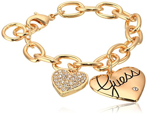 Guess Women's Two Heart Charm Bracelet Gold/Crystal Link Bracelet, 8