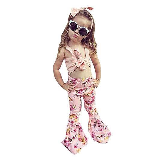 51e9c049b41 Amazon.com: 3PCS Children's Kids Girls Outfits Summer Sleveless Tops ...