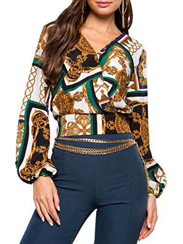 Glamaker Women's Elegant V Neck Long Sleeve Chain Print Workwear BlouseTop Shirts