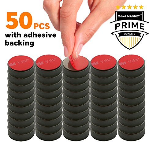 Adhesive Ceramic Magnets – 0.709 Inch (18mm) Round Disc Magnets – Strong Sticky Back – Circle Magnets Ideal for Craft, DIY, Kitchen, Science, Refrigerator, Fridge – 50 PCs Self Adhesive Tiny Magnets by X-bet MAGNET