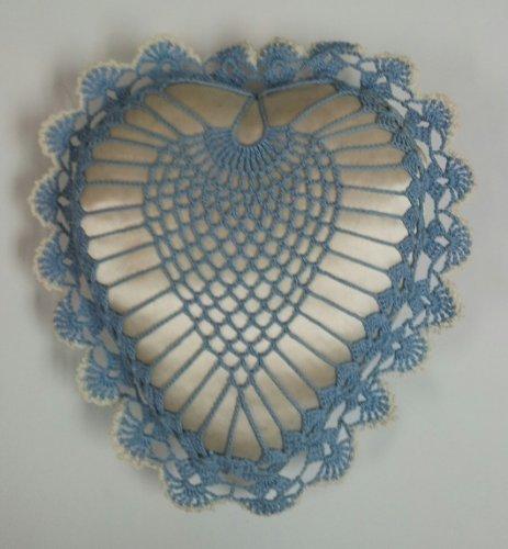 Vintage Small Heart Crochet and Satin Pillow (Crochet Heart Pillow)