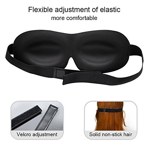 KEKU 3D Memory Foam Eye Masks (2 Pack), Breathable Eye Shades Night Blinder Adjustable Velcro Tape Ideal for Travel, Rest, Shift Work, Relieve Fatigue Come with A Velvet Pouch