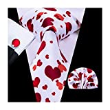 Hi-Tie White Red Love Heart Tie Necktie with Cufflinks and Pocket Square Tie Set