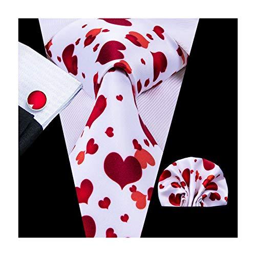 Hi-Tie Fashion Love Wedding Tie Silk Mens Tie Pocket Square Cufflinks