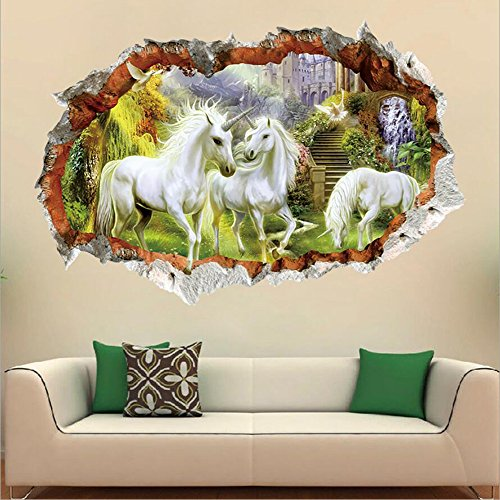 Unicorn Mural - Hui set 9.6x27.5in 3D Mural Photo Wallpaper Jungle Unicorn Home Decor Painting Picture 3D Wall Murals 3D Wallpaper