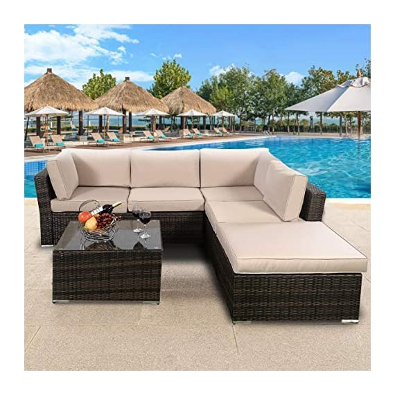 Tangkula 4 Piece Furniture Set Patio Outdoor Deck Lawn Backyard Durable Steel Frame PE Rattan Wicker Sectional Sofa Set, Conversation Set with Coffee Table (Brown) - 【Concise Appearance】It is made up with solid steel frame and PE wicker with sponge cushions ensuring a long lifetime. Its stylish armrests and moderate-reclining backrest double the comfort for you to totally relax yourself and make it more eye-catching. 【Easy Carry】Made of lightweight rattan material, it can be carried easily and labor-efficiently to the desired place. Its compact structure and beautiful texture can surprisingly highlight your patio or poolside deco. 【Moment to Clean】Table with removable tempered glass adds a sophisticated touch and allows you to places drinks, meals and other accessories on top. And you can clean it easily with just a wipe when there is water strain on it. The separable seat cushion also enables you a quick wash. - patio-furniture, patio, conversation-sets - 51akk%2BmRaCL. SS570  -
