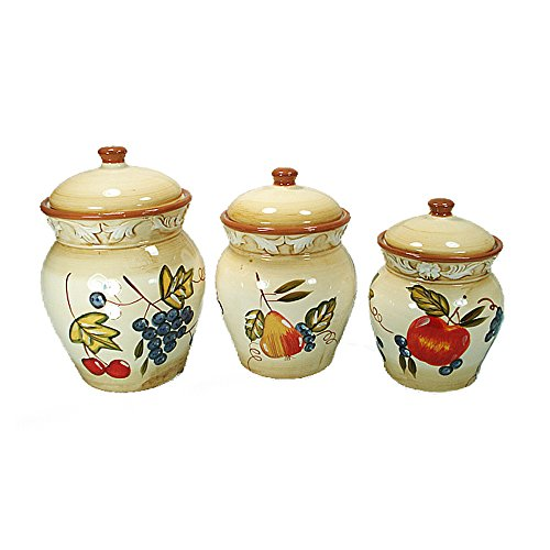 Fruit Design 3 Piece Ceramic Canister Set Fruit Kitchen Canisters