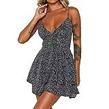 Euone Dress Clearance, Women Holiday Dot Print Dress Clearance Cascading Ruffle Bandage Mini Dresses Sling Deep V-Neck Sleeveless Beach Party Sundress