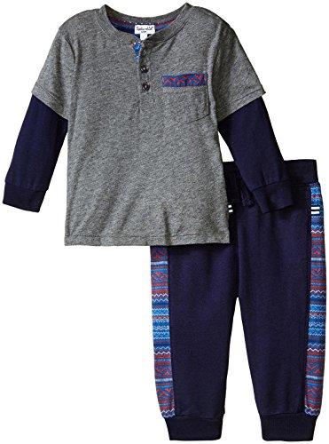 Splendid Baby Boys' Modal Jersey Printed Trim Set, Charcoal Grey Heather, (Splendid Jersey Henley)