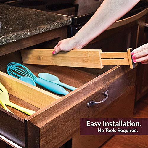 G-LEAF 6 Set Drawer Dividers Bamboo Adjustable Kitchen Drawers Organizer Divider by G-LEAF (Image #5)