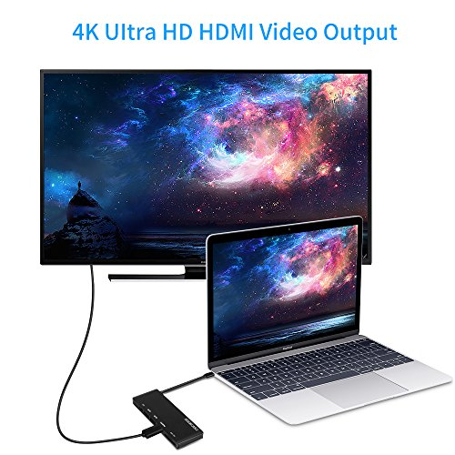 USB C Hub, Heron Cable USB-C 3.1 (Thunderbolt 3) Multiport Aluminum Adapter with Type C 60W Power Delivery, HDMI 4K@30Hz, 2x USB 3.0, Card Reader for MacBook Pro and more Windows USB C Devices (Black) by HERON CABLE (Image #2)