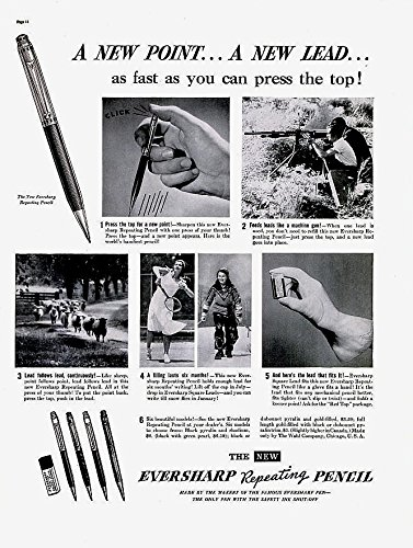 EVERSHARP 1937 REPEATING PENCIL A NEW POINT.A NEW LEAD. LARGE ORIGINAL NON-COLOR AD -USA - EXCELLENT VINTAGE !!