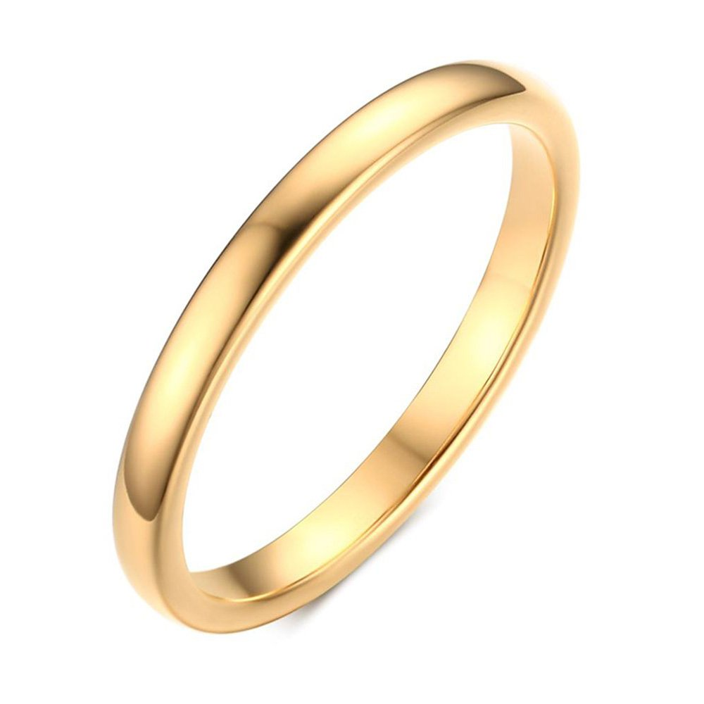 YIKOXI Small and simple gold tungsten steel engagement ring,2MM,Size 6-11,Size 8