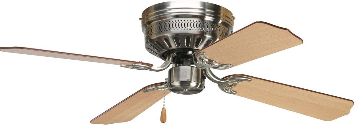Progress Lighting P2524-09 42-Inch Hugger 4 Blade Fan with 3-Speed Reversible Motor with Reversible Cherry or Natural Cherry Blades, Brushed Nickel