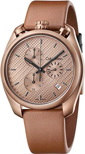Calvin Klein Control Chronograph Rose Dial Brown Leather Mens Watch K6Z17TGK