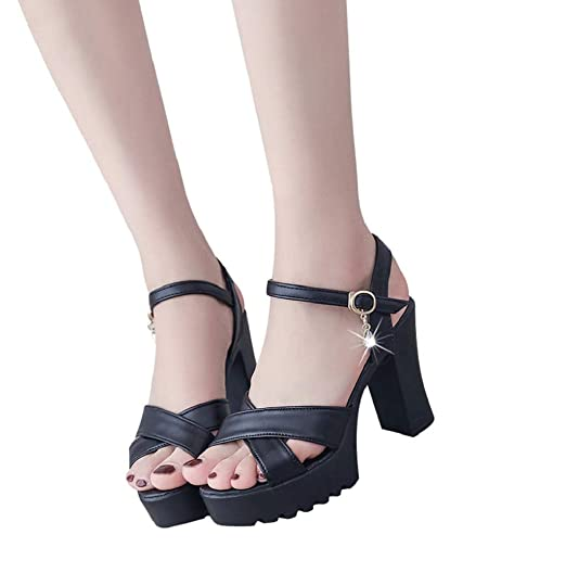 ff2b9d5c4b84 Women Shoe Open Toe Ankle Strap Block Heel Classic Chunky High Heel Wedge  Sandal Black