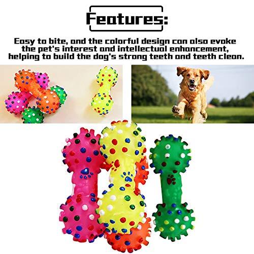 RoadRoma Durable Juguetes para Perros peque/ños Goma Mascotas Sonido Chirrido Forma de Pesa Juguete para Masticar Aleatorio