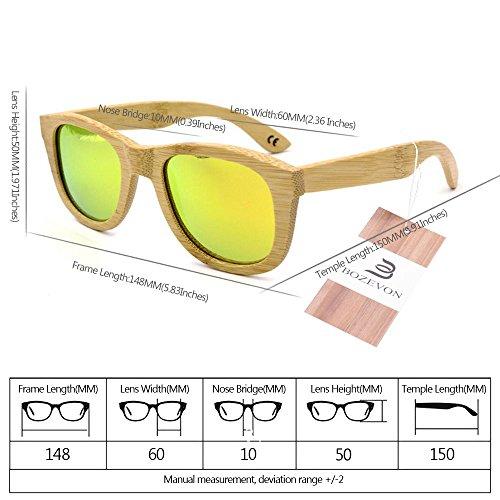 Orange Polarisé Bambou Pour bois Cru de Des En Hommes et Femmes lunettes soleil BOZEVON gROSq