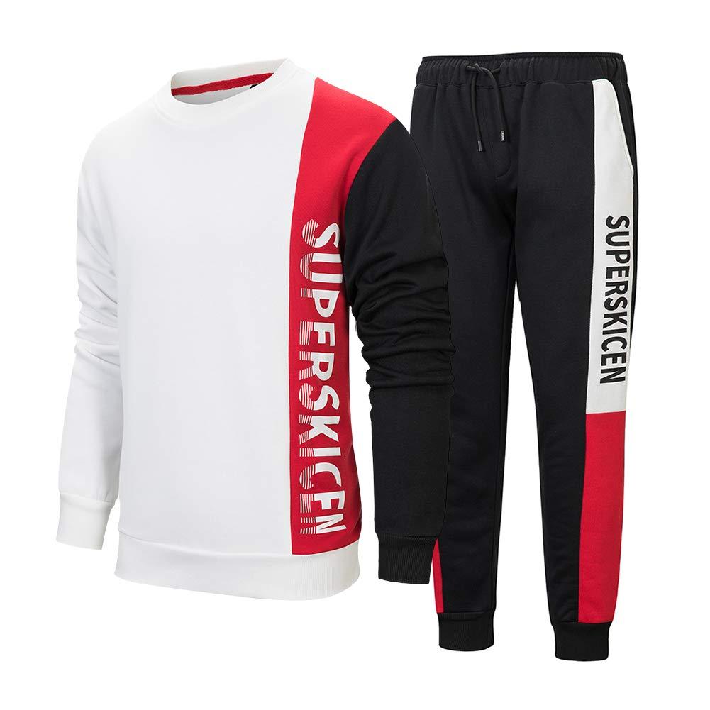 Men's Athletic Tracksuit Crewneck Casual Jogging Gym Sweat Suits